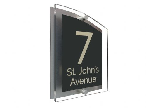 Arc Shape - Clear Acrylic House Sign - Black Colour with Double Cream text in Font  4
